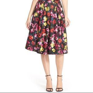 Eliza J Floral Black Pleated Midi Skirt 14